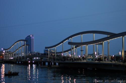 Le port de Barcelone à la tombée de la nuit