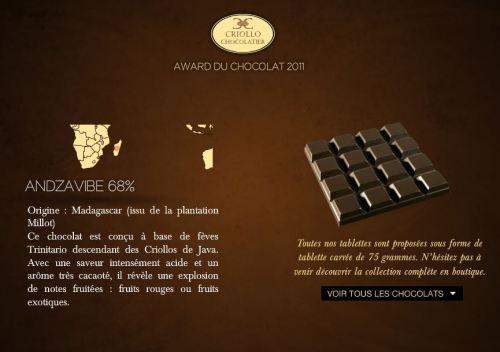 Tablettes de chocolat Criollo