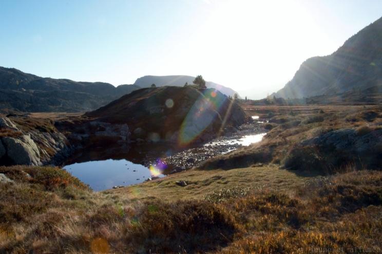 Soleil couchant sur le ruisseau de Bassiès