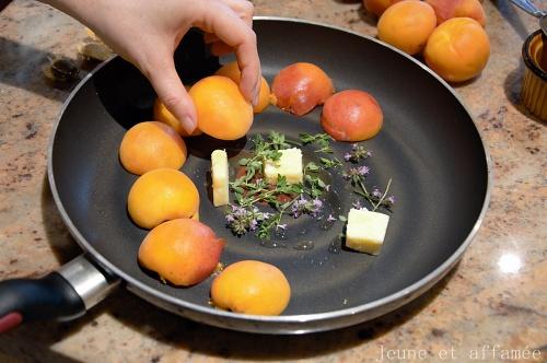 Abricots rôtis, mousse au miel