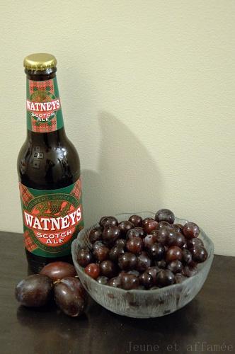 Bière brune et raisins
