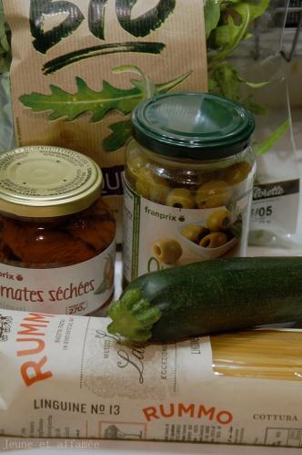 Pâtes roquette, légumes, parmesan