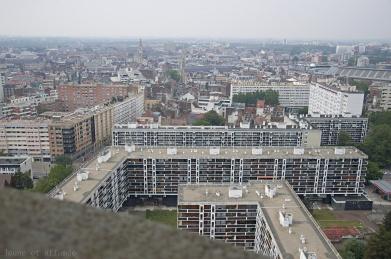 Vue depuis le beffroi de l'hôtel de ville à Lille
