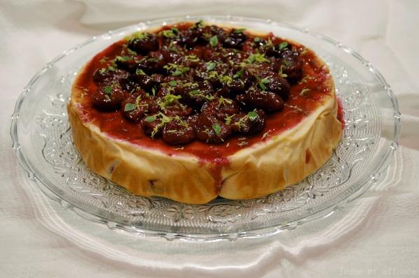 Gâteau au fromage blanc, cerise, citron vert et basilic