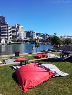 Terrasse accueillante pour chiller sur le port de Wellington