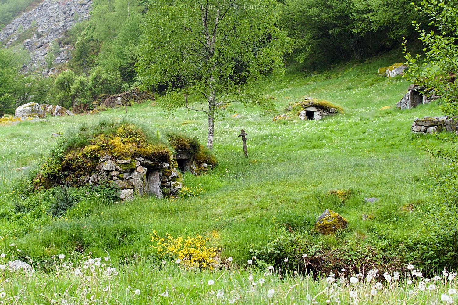 Le village d'estive de Peyre auselère et ses cabanes en pierre sèche