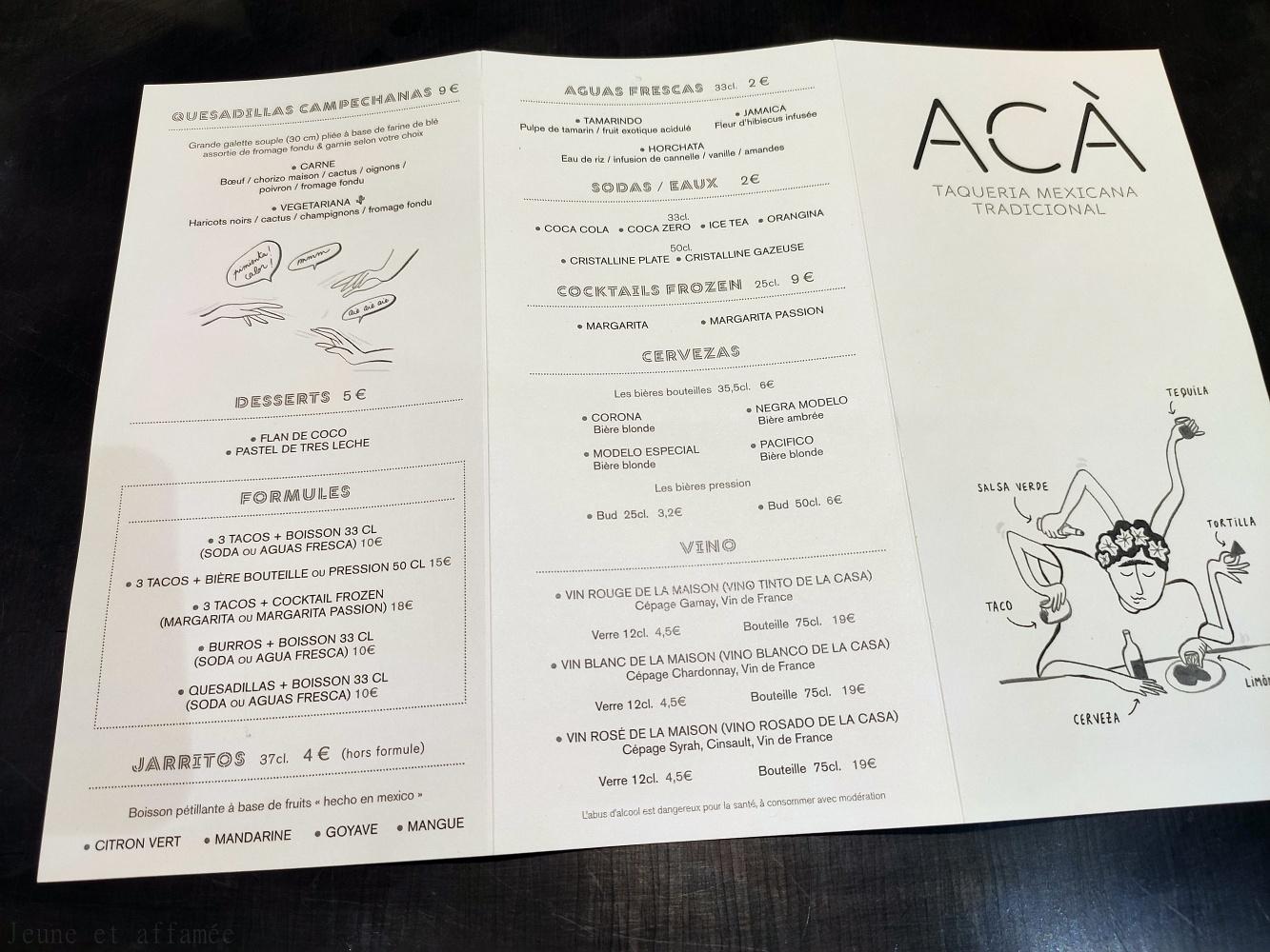 ACA Pigalle, carte des boissons et menus