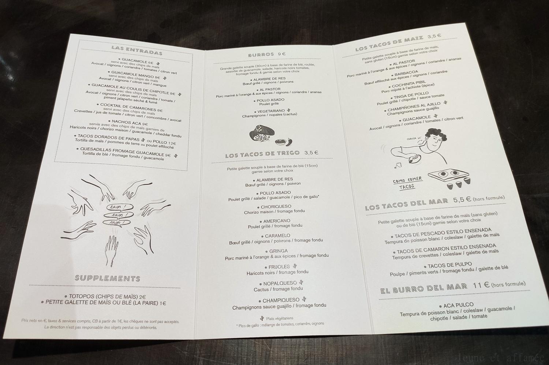 ACA Pigalle, carte des tacos et autres plats